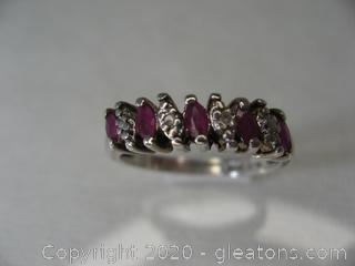 Sterling Silver Ring with Ruby's Size 7¾ Stamped 925