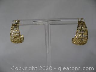 """14kt """"J"""" Hoop Earrings"""