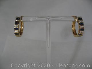 14kt Diamond & Sapphire Hoop Earrings