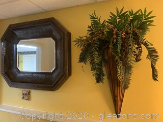 Large Wall Hanging Mirror and Faux Plant