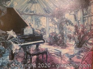 Large Signed Framed Art (Piano,Sunroom)