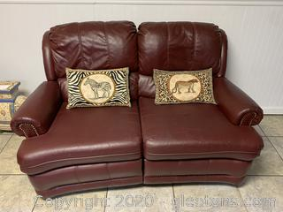Port Burgundy Red Leather Reclining Love Seat