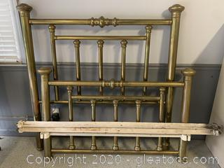 Vintage Brass Full Sized Bed - Headboard and Footboard