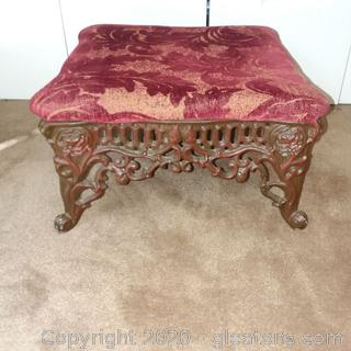 Upholstered Wrought Iron Footstool/With Cover