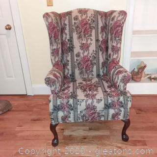 Adams-Pierce Chippendale Style Wingback Chair A