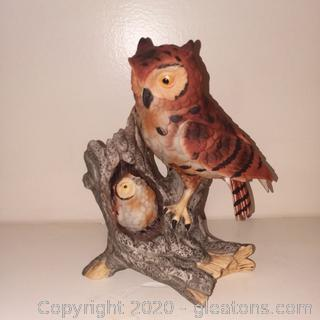Vintage Porcelain Owl and Her Baby Figurine