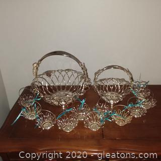 2 Godinger Vineyard Silverplate Grape Design baskets and 12 Silvertone Metal Baskets