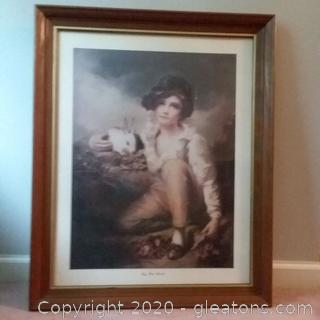 """Boy with Rabbit"" Framed Print Behind Glass"