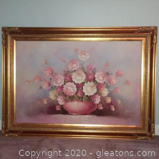 Large Original Signed Oil Painting in Beautiful Gold Frame