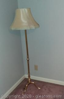 Brass Tone Floor Lamp with Shade