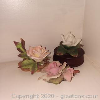 3 Beautiful Porcelain Roses