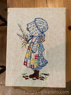 Holly Hobbie Cross Stitch Wall Art