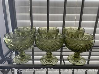 Vintage Olive Green Glass Pedestal Glasses