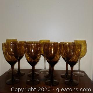 11 Brown Stemmed Glasses