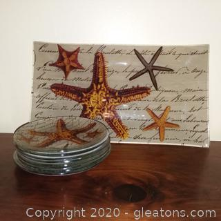 Notions Starfish Tray and 8 Cocktail Plates