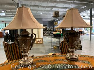 Pair of Bronze Look Plaster Table Lamps with Shades