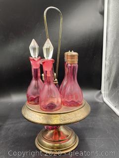 Colored Glass Caster Condiment Set