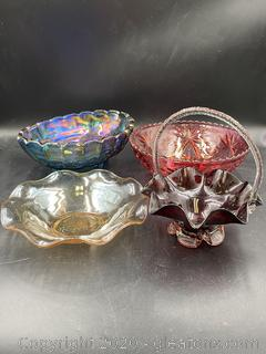 Collection of Colored Glass Home Decor