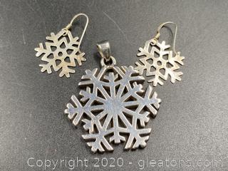 Sterling Snowflake Pendant W/Matching Earrings