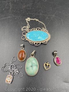 Sterling Pendants/Necklaces W/Gemstones