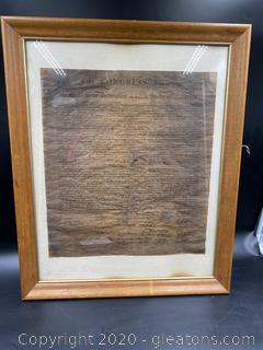 Framed Copy of the Declaration of Independence