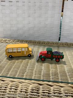 "The original Snow Village- "" School Bus And Snow Plow"""