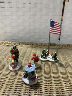 "The Original Snow Village- "" Feeding The Birds"" And ""Village Flagpole"""