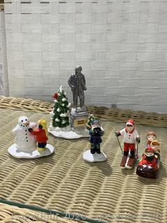 "The Original Snow Village- ""Snow Kids"" And ""Village Statue Of Mark twain"""