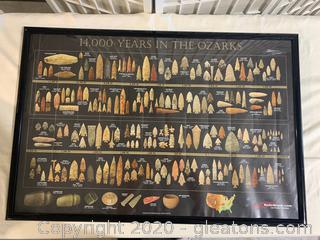 """""""14,000 Years in the Ozarks"""" Arrowhead Timeline Poster"""
