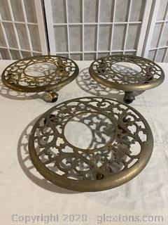 Brass Rolling Plant Stands
