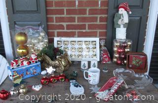 "Christmas Lot / Mikasa Poinsetta Crystal Serving Dish / Message Coffee Mug with Santa & Deer / 12 1/2"" Snowman / Salt & Pepper Shakers / Acrobatic Santas Figurines / Basket with paper napkins / Sleigh / Christmas Ball Place card holders / 8"" Let It Snow Tag (wooden) /Misc Ornaments"
