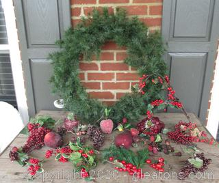 Design Your Own Wreath  with a 30 Inches in Diameter Faux Evergreen Wreath and Faux Fruits & Picks