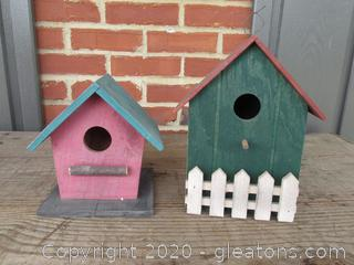 Two Bird Houses 7 inches tall and 9 1/4 inches tall