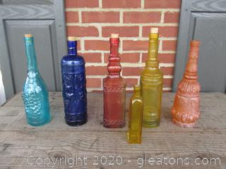 Lot of 6 Colorful Empty Bottles
