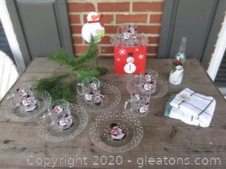 Set of 6 Snowman Snack Plates & Cup [Crate & Barrel] Kitchen Towel / Snowman Gift Box empty / Snowman Bottle /  Metal Snowman / Evergreen Pick