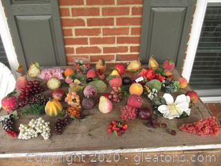 Large Lot of Faux Fruit and a couple of Fruit Pick and a Magnolia Pick