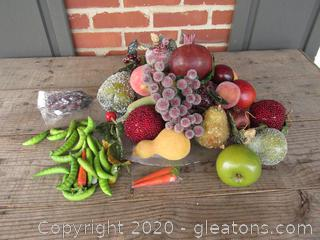 Faux Fruit & Veggies on a Clear & Frosted Basket Weave Platter