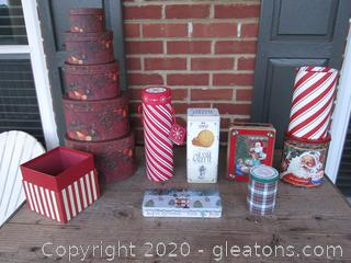 Empty Tins & Thick Cardboard Containers for Gift Wrap Giving Or Storage