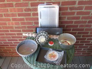 Creative  Baking Lot / Rolling Pin /Gobel Charlotte /  4 Gobel Brioche Molds /13 x 9 pan with lid / 2 Tart Pans / Single tart Pan / Fluted Cake Pan / Norpro Pasta Timer