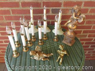 9 Battery Operated and 3  Electric Window Lights Also 3 Cherub