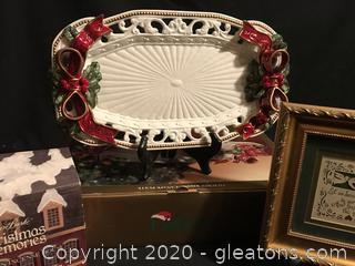 Dillard's filigree ribbon plate, picture and porcelain house