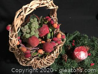 Basket, fruit,wreath, and candle