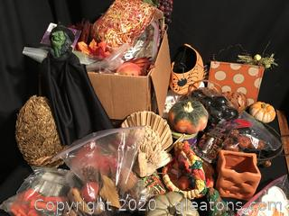 Two boxes of fall decor