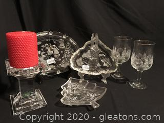 Beautiful Shannon crystal candle holder and Mikasa dishes