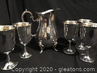 Water pitcher 5 goblets