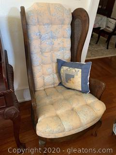 Tufted Cane Wingback Accent Chair