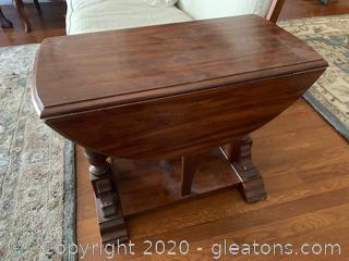 Drop Leaf Cherry Wood Side Table