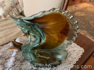 Blown Glass Sword Fish Dish