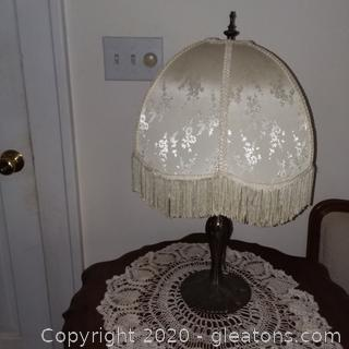 "24"" Art Deco Lamp with Fringed Shade"