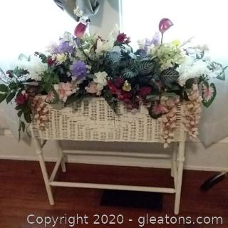 White Wicker Plant Stand with Silk Floral Arrangement